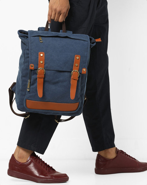 Backpack With Flap Closure By AJIO ( Blue )