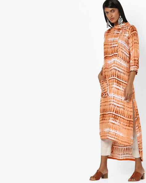 High-Low Kurta With Dyed Effect By Aujjessa ( Brown )