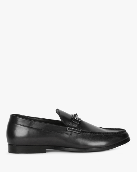 Textured Genuine Leather Penny Loafers By Hats Off Accessories ( Black )