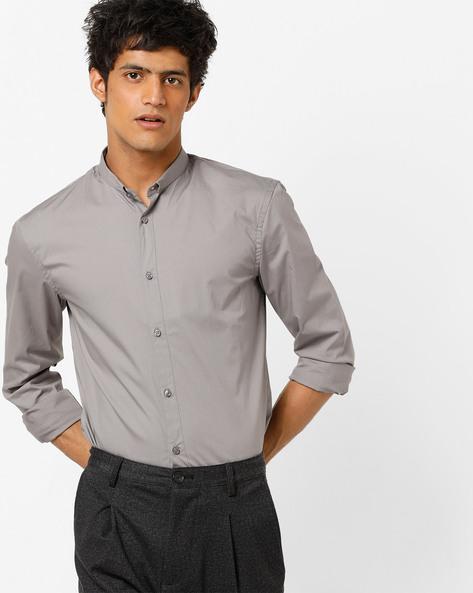 Slim Fit Shirt With Curved Hemline By Celio ( Grey )