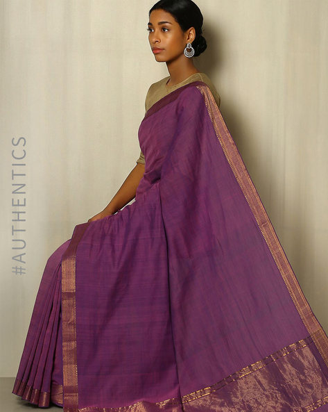 Handwoven Mangalgiri Cotton Saree With Zari Border By Indie Picks ( Purple )