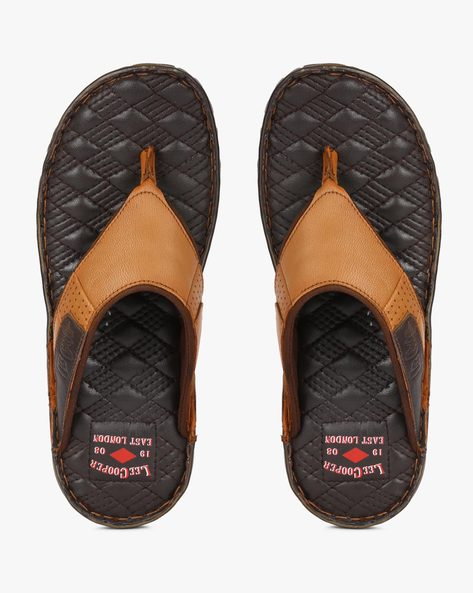 Genuine Leather Thong-Strap Flip-Flops By Lee Cooper ( Tan )