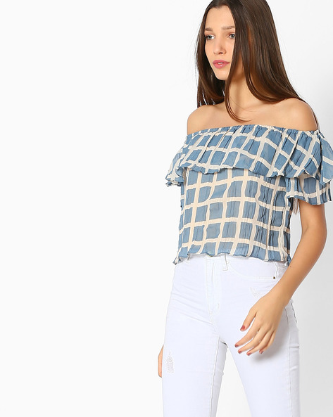 Checked Off-Shoulder Top By And ( Multi )