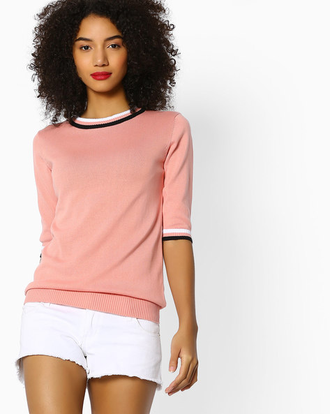 Crew-Neck Top With Contrast Sleeve Hems By FIG ( Pink )
