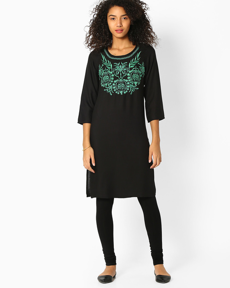 Straight Kurta With Embroidery By FUSION ( Black )