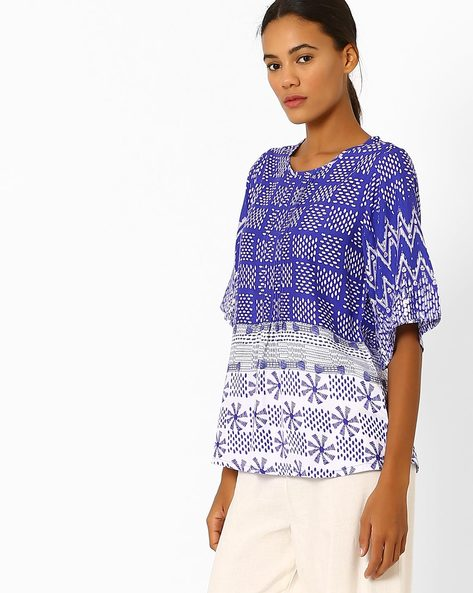 Printed Top With Flared Sleeves By Global Desi ( Multi )