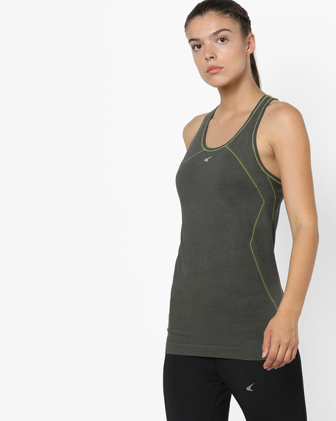 Quickdry Seamless T-shirt With Racerback By PERFORMAX ( Charcoal )
