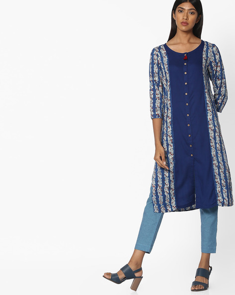Printed Kurta With Contrast Panel By Melange By Lifestyle ( Blue )