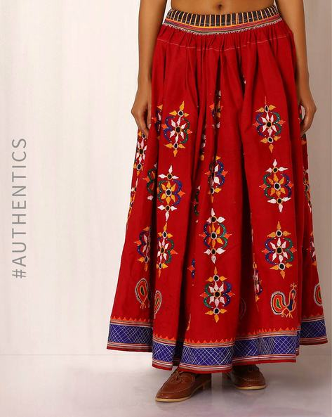 Kutch Embroidered Cotton Skirt By Indie Picks ( Maroon ) - 460039056001