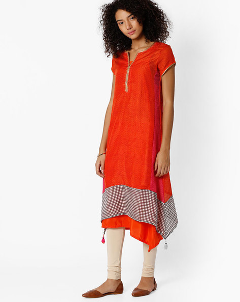 Printed Layered Kurta By Biba ( Orange )