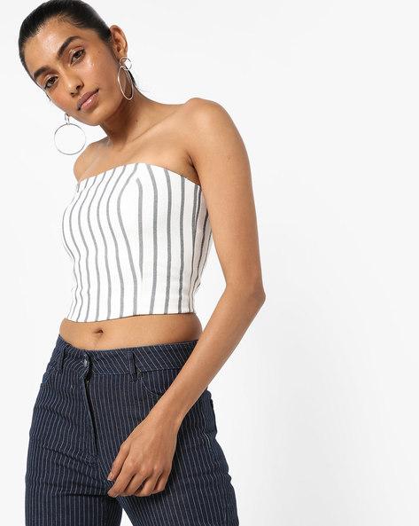 Striped Off-Shoulder Crop Top By Vero Moda ( White )