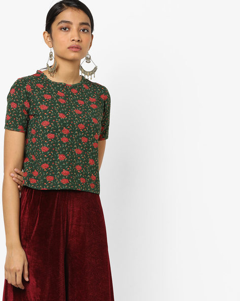 All-Over Floral Print T-shirt By AJIO ( Olive )