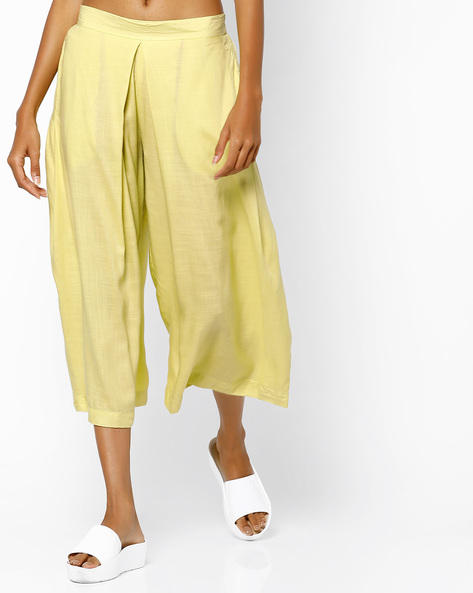 Box Pleat Culottes With Side Slip Pockets By AJIO ( Green )