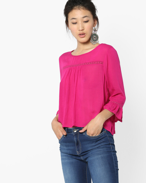 Peasant Top With Back Button Placket By AJIO ( Pink )
