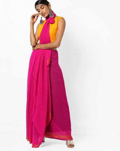 Dotted Saree With Zari Border By Florence ( Pink )