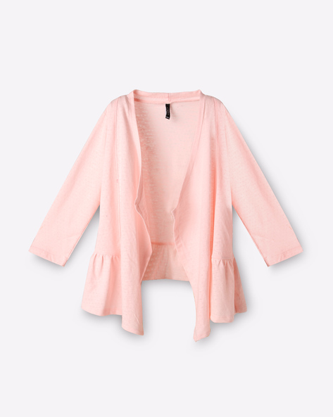 Pointelle Knit Open-Front Shrug By RIO GIRLS ( Pink )