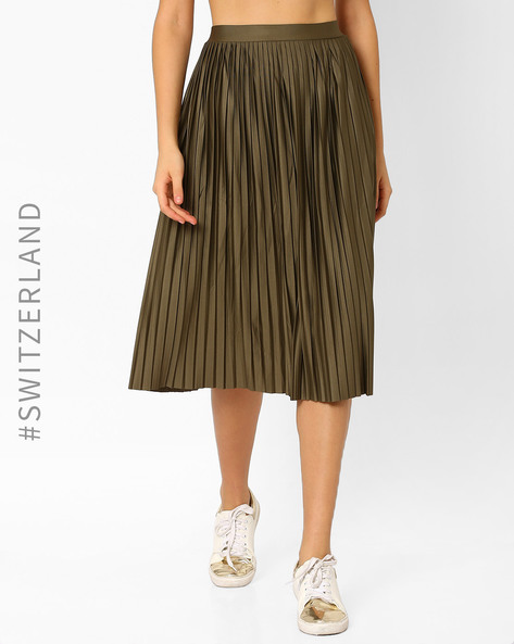 Pleated Midi Skirt By TALLY WEiJL ( Olive )