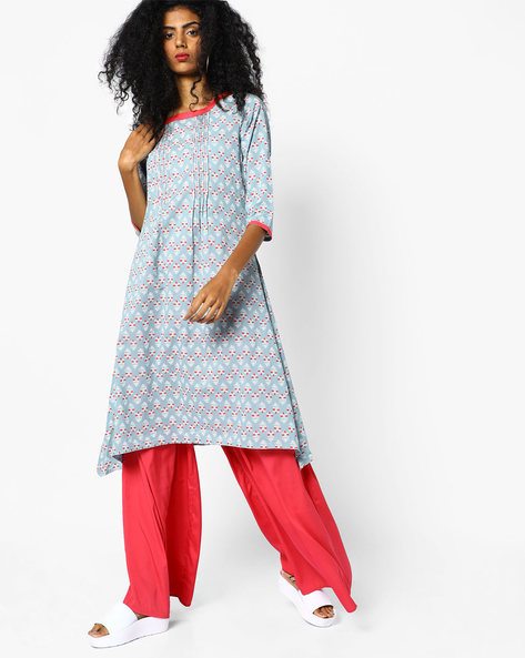 Block Print A-Line Kurta With Dipped Hem By AJIO ( Printed )