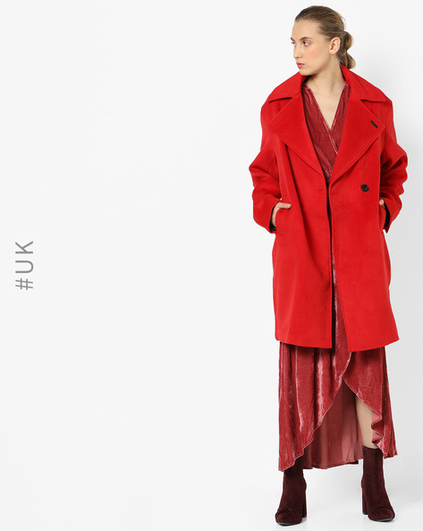 Double-Breasted Trench Coat By NEON ROSE ( Red )