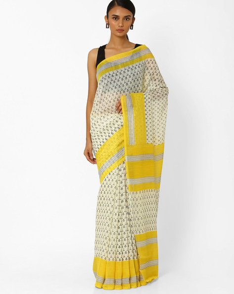 Printed Saree With Contrast Border By Akoya ( Yellow )