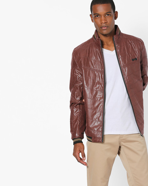 Quilted Jacket With Stand Collar By Fort Collins ( Maroon )