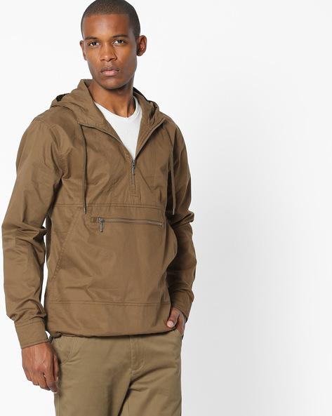 Front-Zip Hooded Jacket By AJIO ( Khaki )