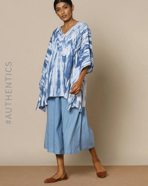 Hand Tie-Dyed Shibori Indigo Cotton Kaftan Top By ANANDA ( Indigo ) - 460095162004