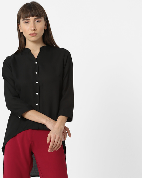 High-Low Shirt Top With Mandarin Collar By FIG ( Black )