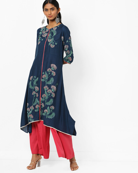 Floral Print A-line Kurta With Dipped Hems By W ( Blue )