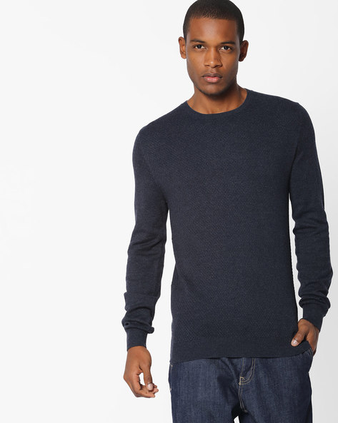 Textured Crew-Neck Pullover With Ribbed Hems By Celio ( Navyblue )