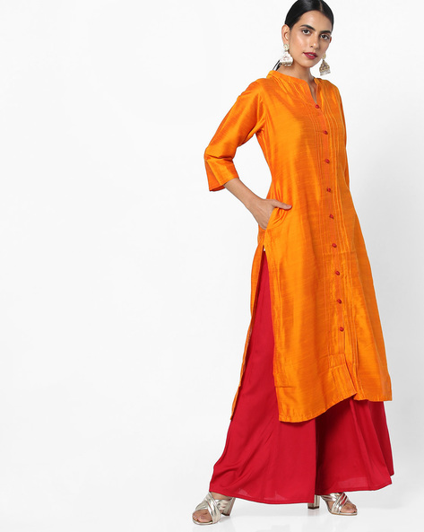 Collared Straight Kurta With Insert Pockets By Shree ( Orange )