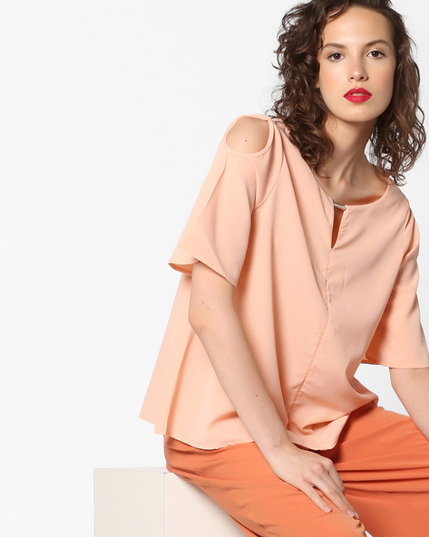 Cold-Shoulder Panelled Top By Project Eve WW Casual ( Ltpeach )