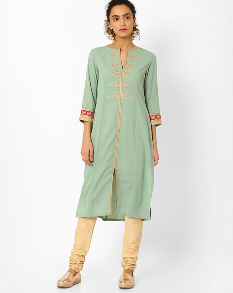 Straight Kurta With Embroidery By AJIO ( Green )