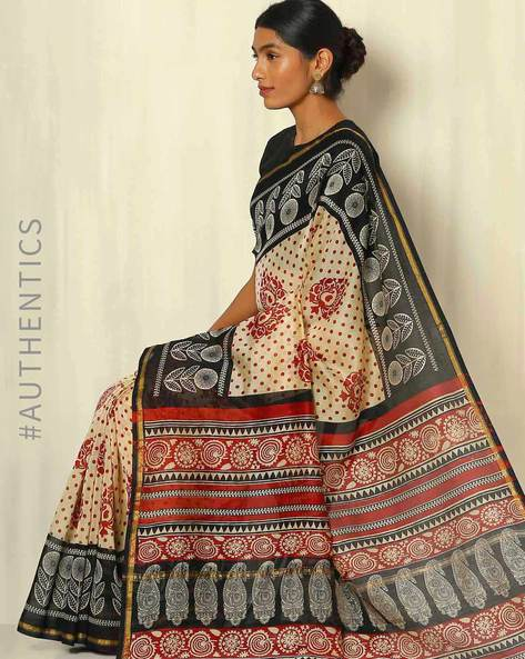 Bagru Handblock Print Chanderi Saree With Zari Border By Indie Picks ( Multi ) - 460053763001