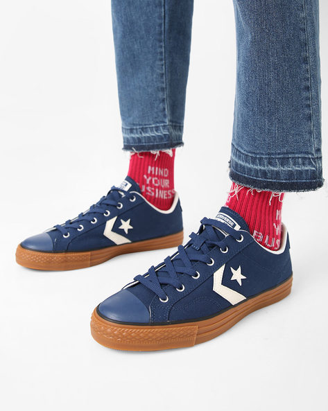 Casual Canvas Lace-Up Shoes By CONVERSE ( Navyblue )