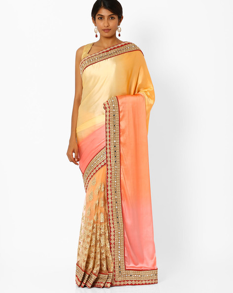 Satin Net Embroidered Saree With Embellishments By Akoya ( Peach )