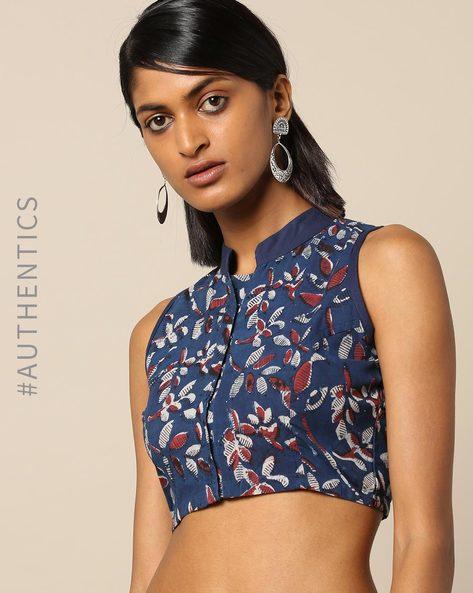 Handblock Print Cotton Sleeveless Mandarin Collar Blouse By Molcha ( Blue )