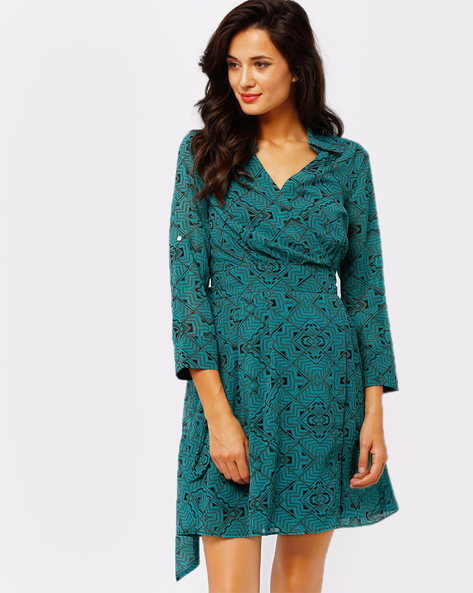 Printed Wrap Dress By Oxolloxo ( Green )