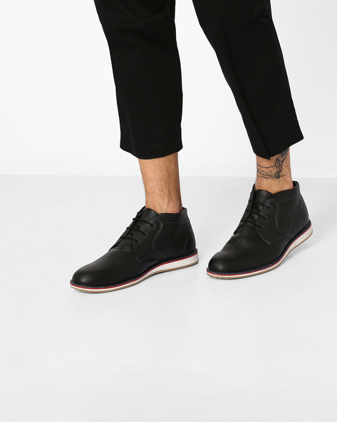 Faux-Leather Mid-Cut Casual Shoes By AJIO ( Black )