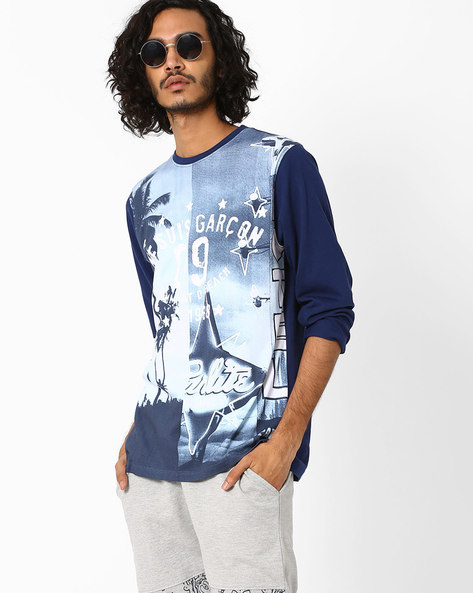 Graphic Print Cotton T-shirt By Garcon ( Navyblue )