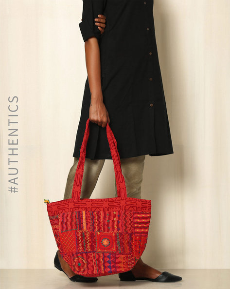 Lambani Embroidered Cotton Tote Bag By Indie Picks ( Red )