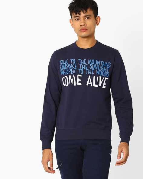 Typographic Print Crew-Neck Sweatshirt By Wildcraft ( Navyblue )