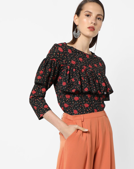 Floral Top With Ruffled Overlay By AJIO ( Black )