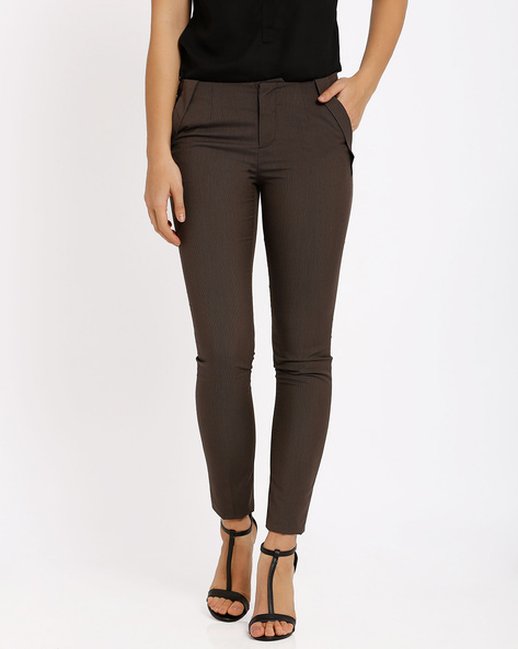 Slim Fit Trousers By Annabelle By Pantaloons ( Brown )