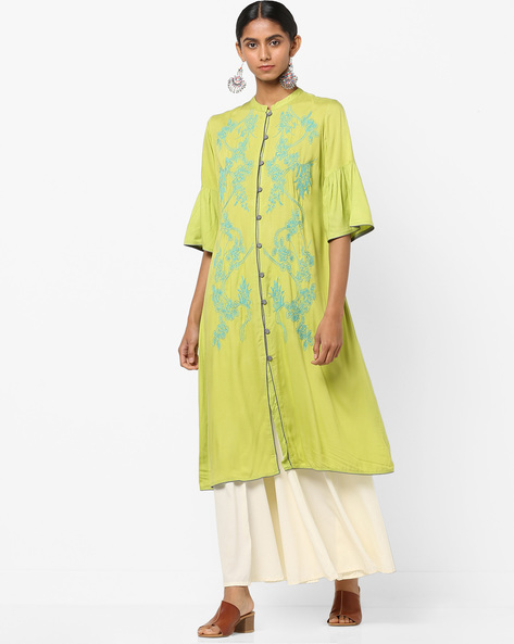 Button-Down A-line Kurta With Floral Embroidery By AJIO ( Lime )