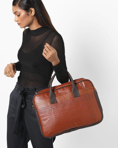 Quilted Laptop Messenger Bag By Toteteca ( Brown )