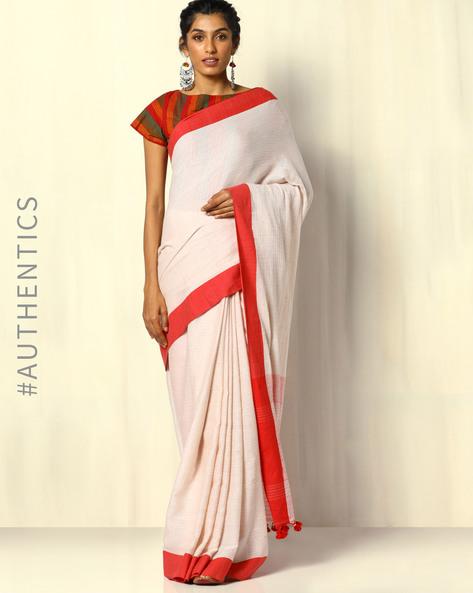 Handloom Bengal Cotton Herringbone Saree With Tassels By Indie Picks ( Beige )
