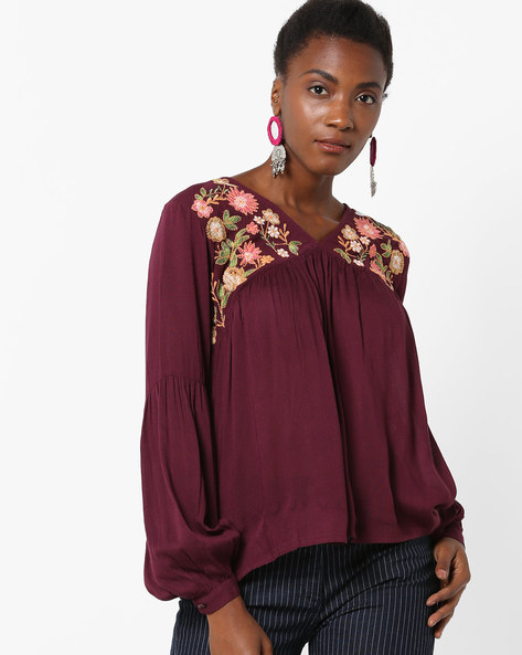 Floral Embroidered V-neck Top With Bishop Sleeves By Rena Love ( Wine )