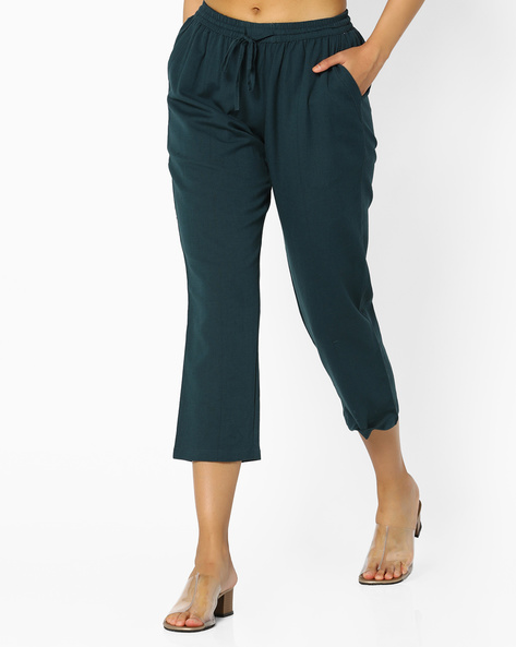 Straight Fit Pants With Tie-Up By Project Eve IW Casual ( Teal )