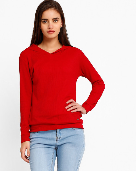 Hooded Sweatshirt With Ribbed Cuffs By TEAM SPIRIT ( Red )